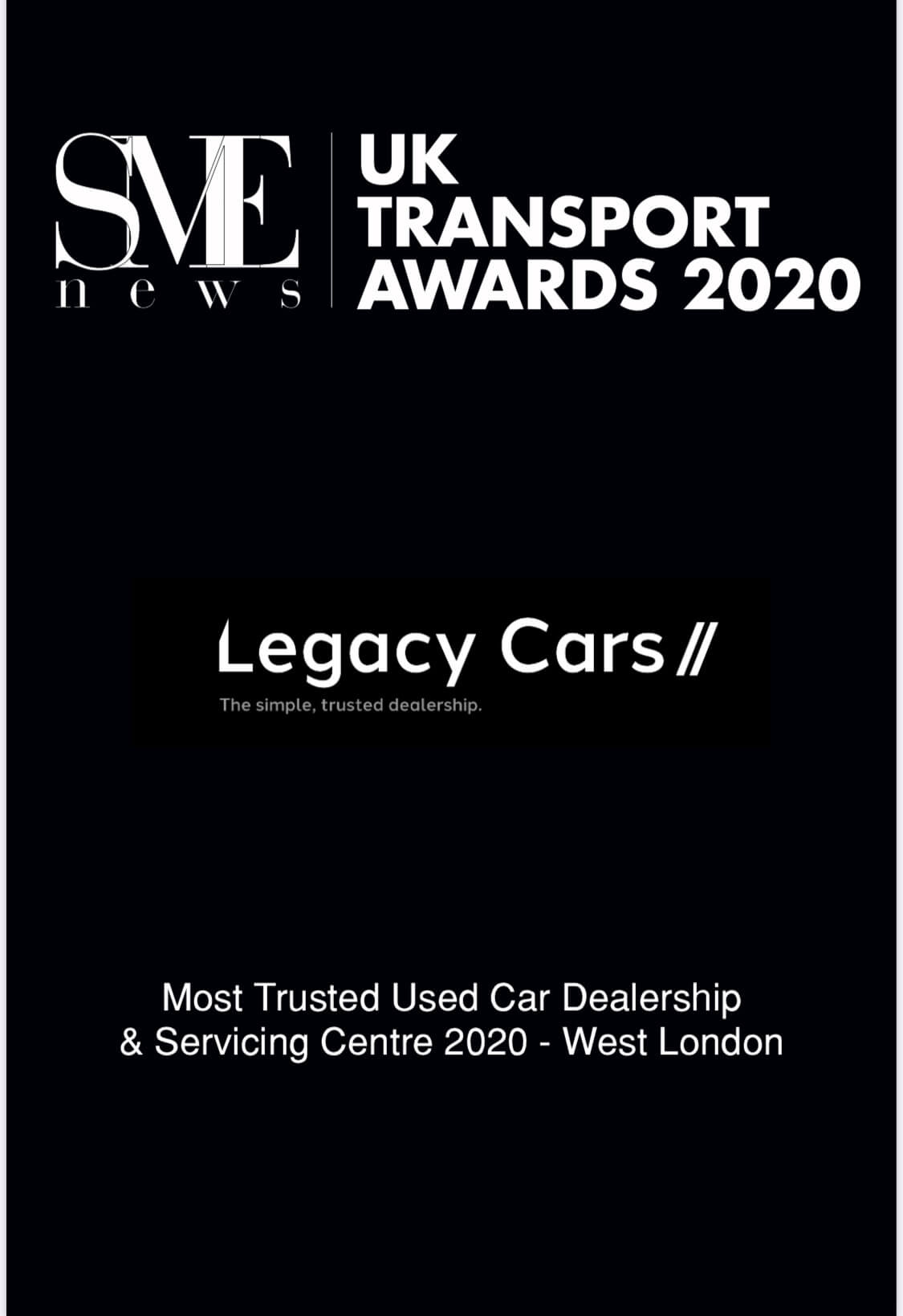 SME News UK Transport Awards 2020 Winner – Most Trusted Used Car Dealership & Servicing Centre 2020 - West London